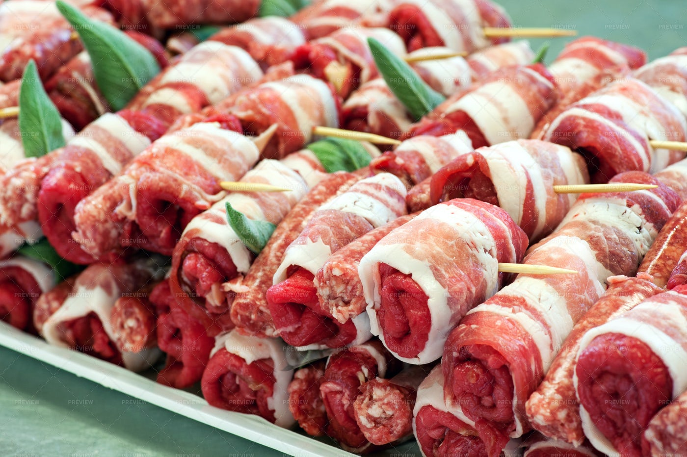 Raw Red Meat Rolls: Stock Photos