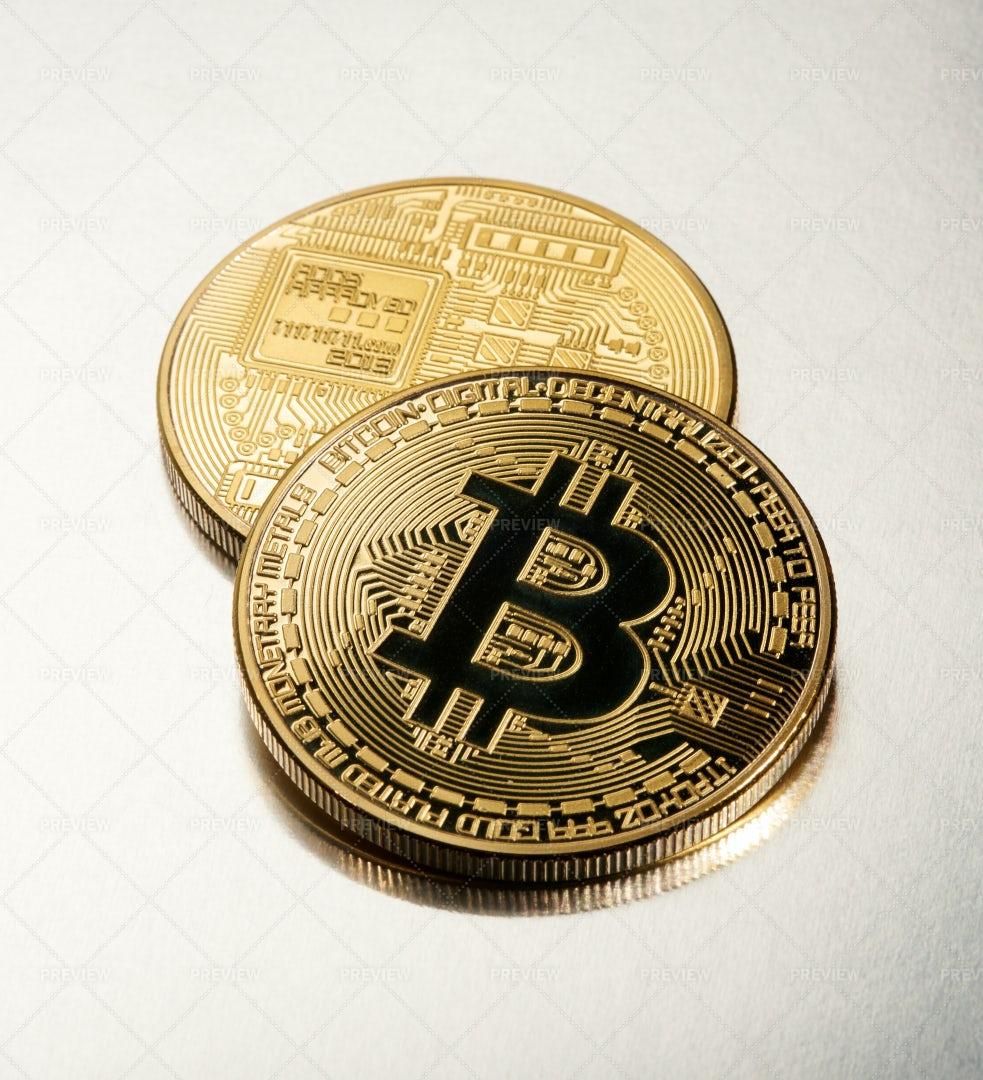 Two Gold Bitcoins: Stock Photos