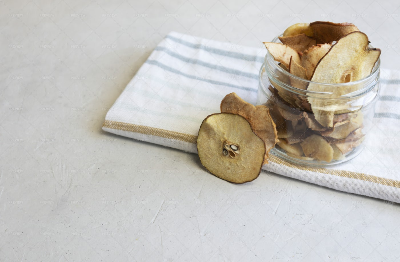 Dried Pear And Apple Chips: Stock Photos