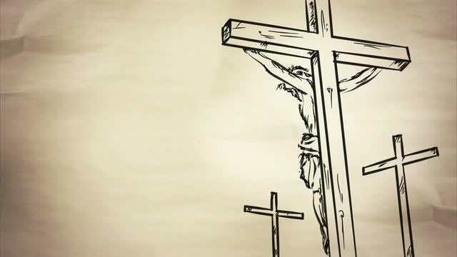 Jesus On The Cross Sketch: Stock Motion Graphics