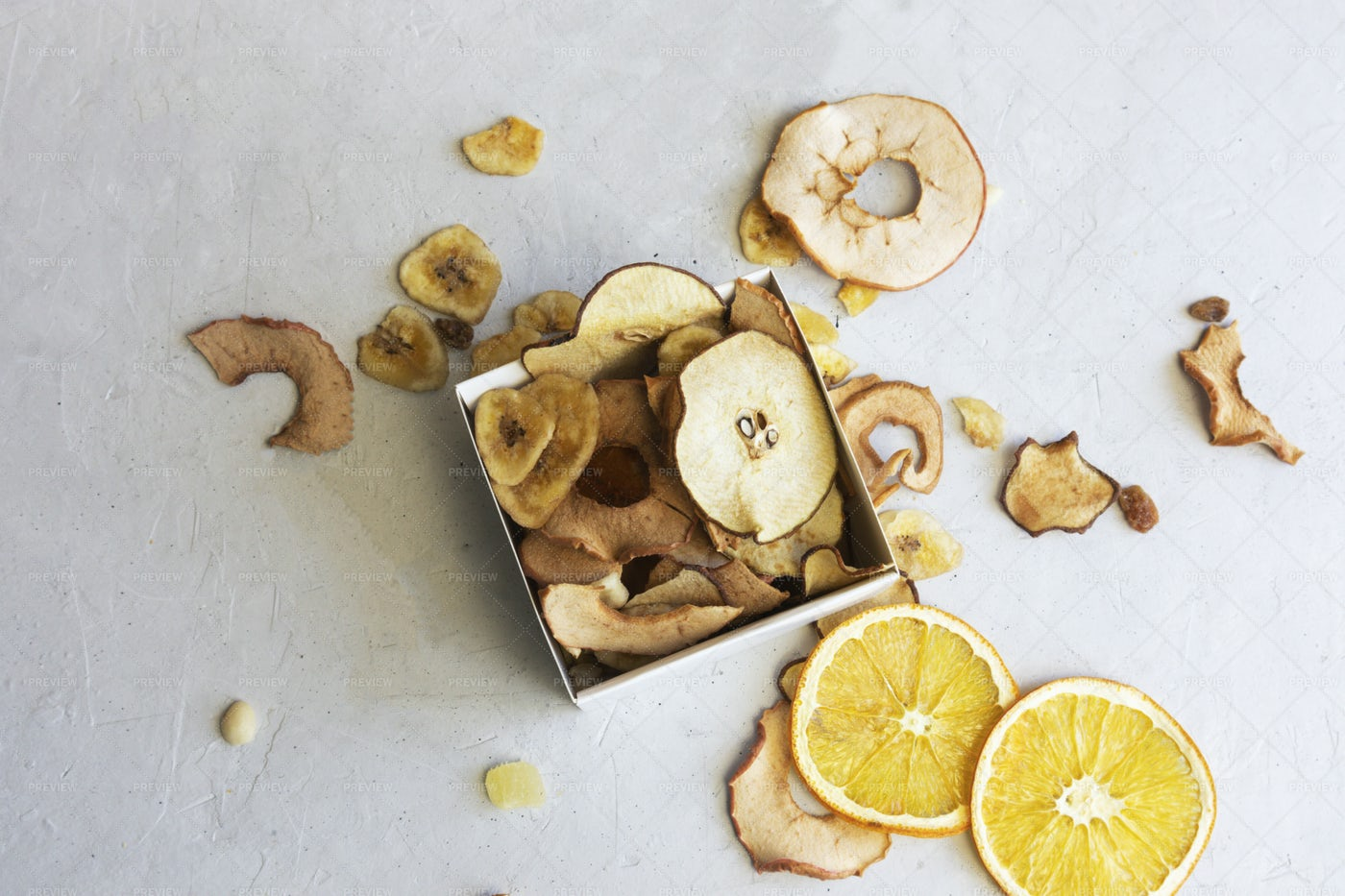 Dried Apples And Oranges Chips: Stock Photos