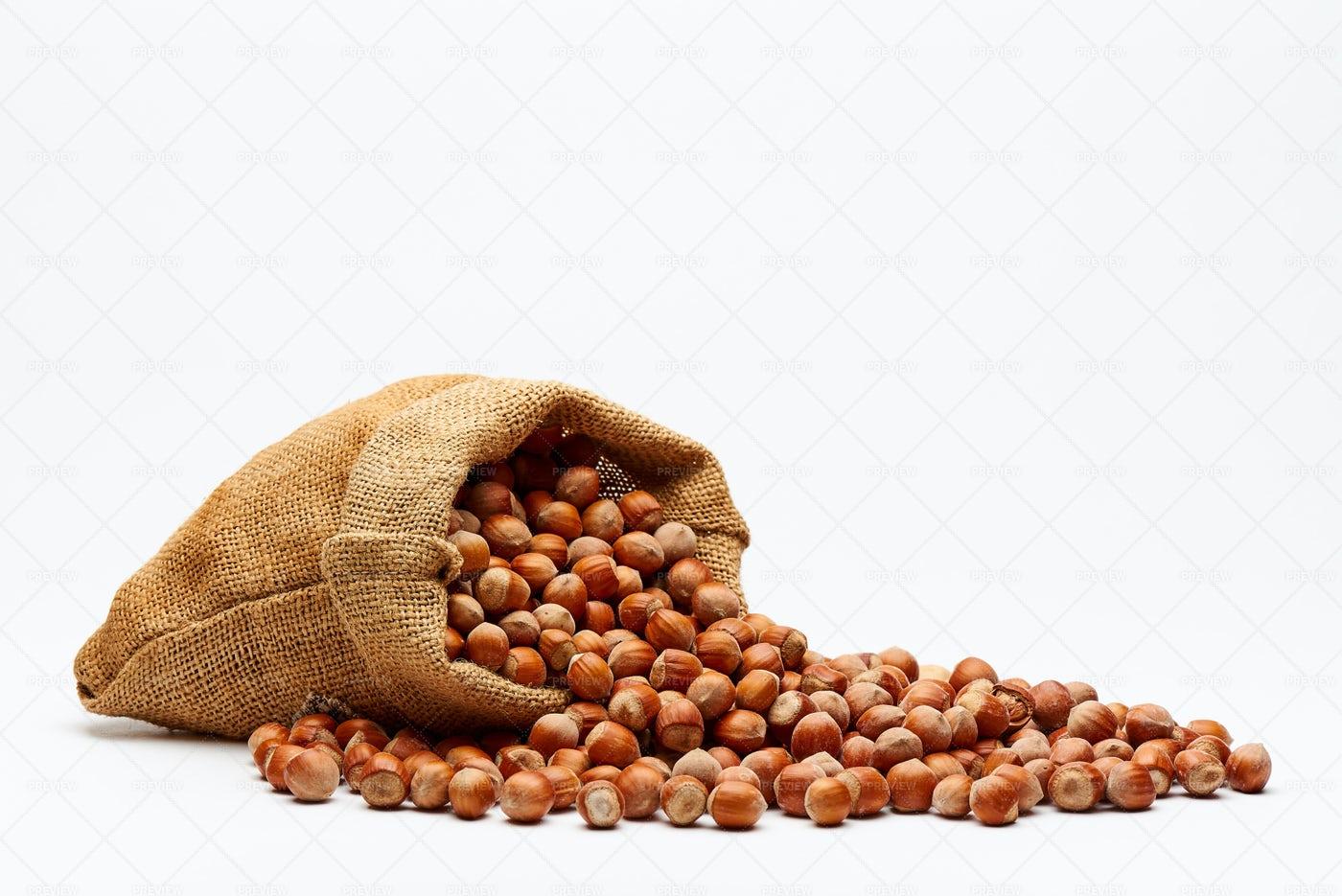 Bag With Hazelnuts.: Stock Photos