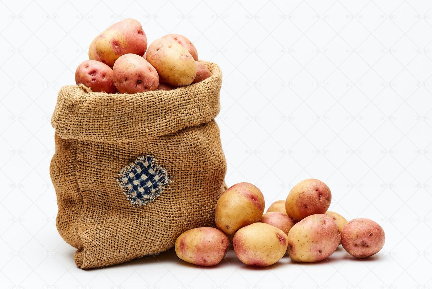 Bag With Potatoes.: Stock Photos