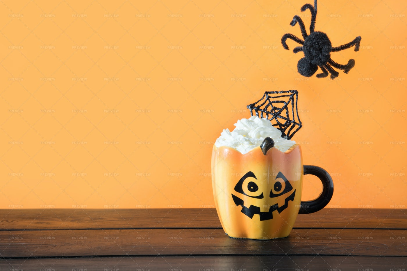 Halloween Coffee And Spider: Stock Photos