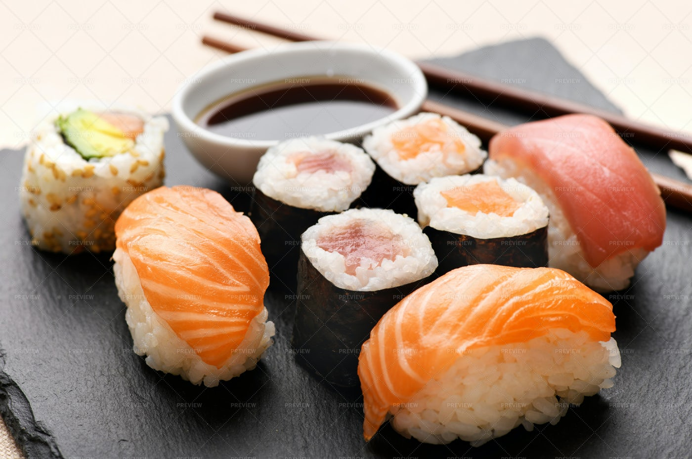 Selection Of Different Sushi: Stock Photos