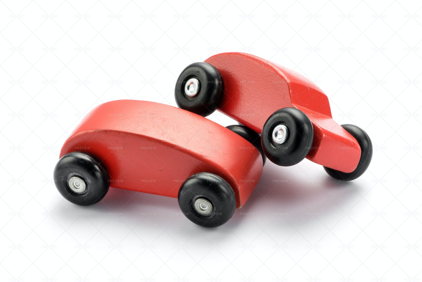 Wooden Red Cars: Stock Photos