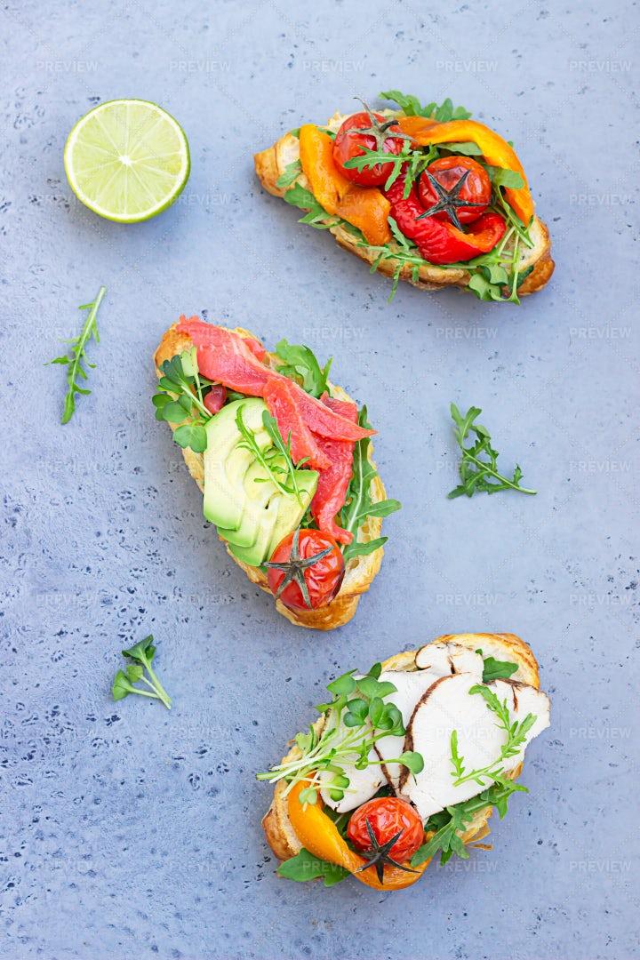 Croissant Sandwiches: Stock Photos