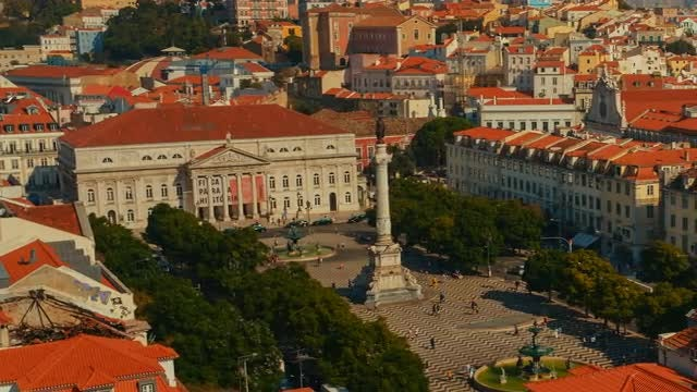 Aerial View Of Rossio Square: Stock Video