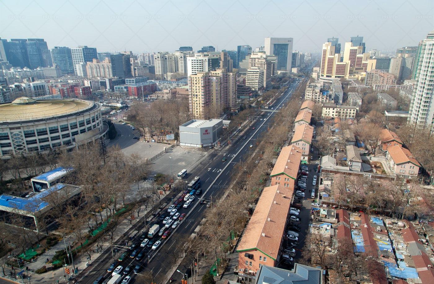 Beijing Cityscape With Heavy Traffic: Stock Photos