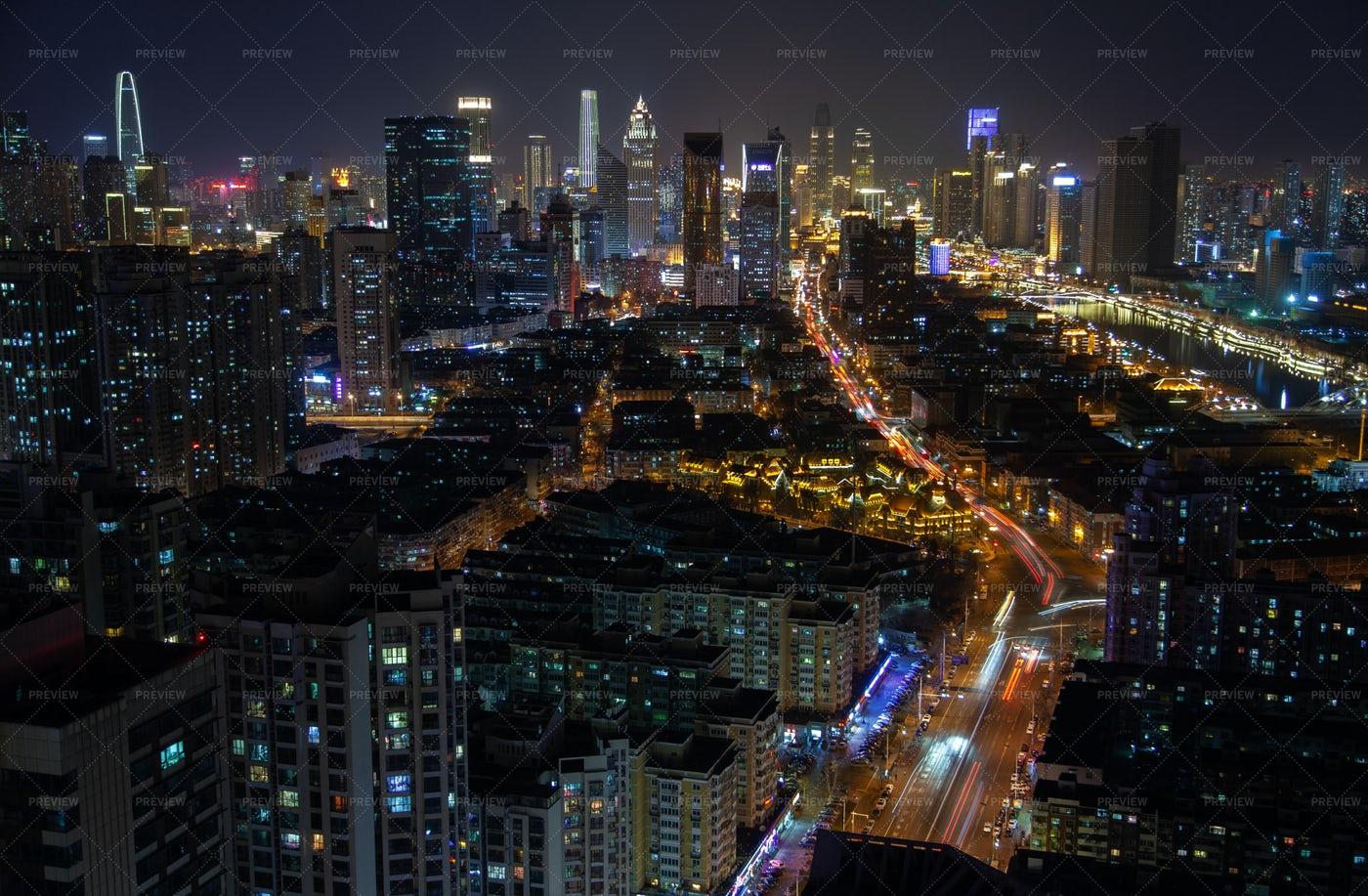 Tianjin Night Skyline: Stock Photos