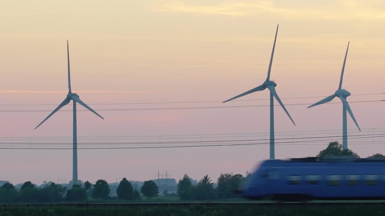 Train And Clean Energy Wind Turbines: Stock Video