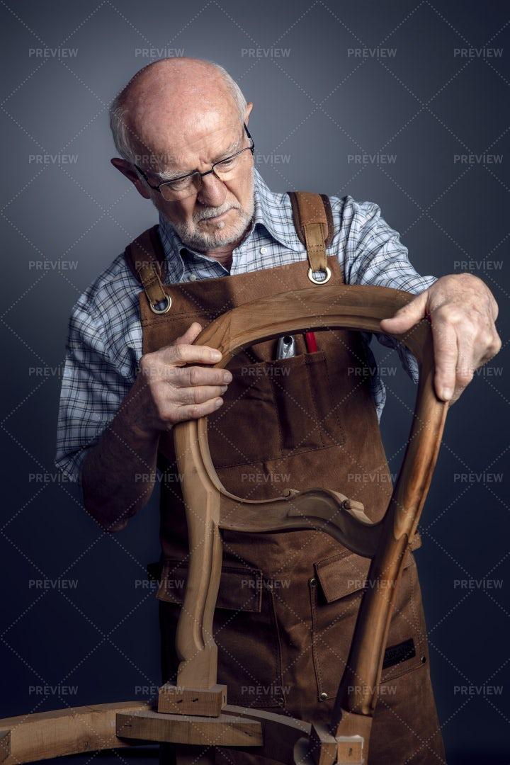 Elderly Woodworker: Stock Photos