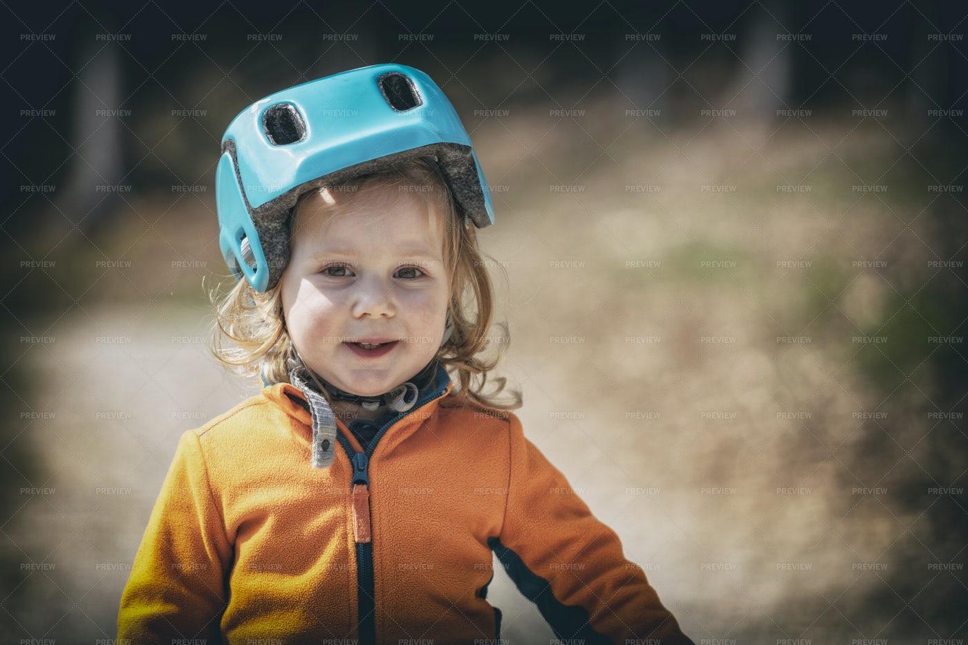 Kid In A Helmet: Stock Photos
