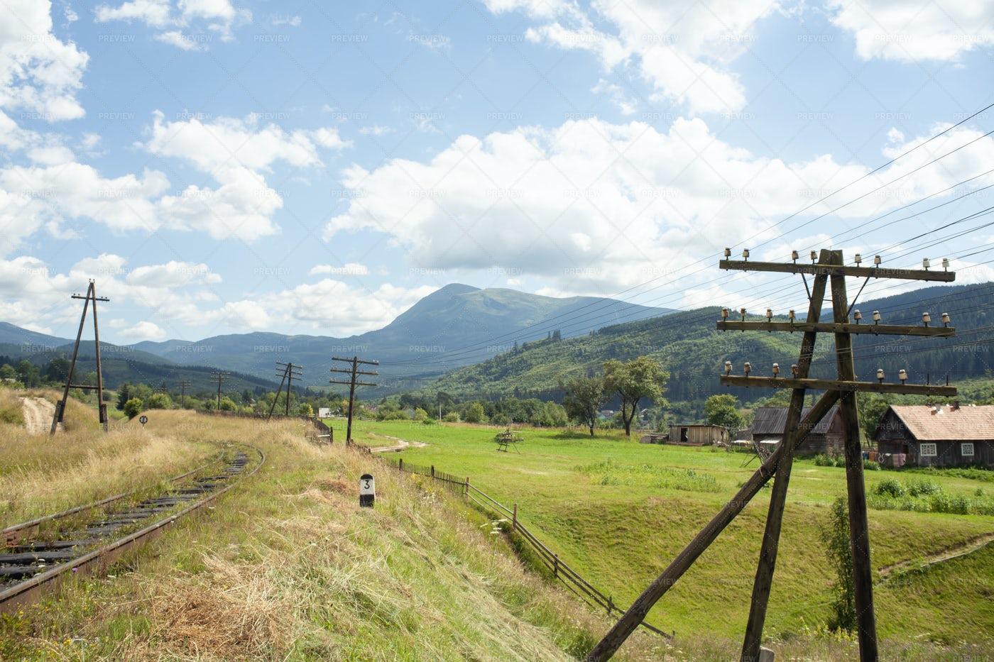 Railroad To The Mountains: Stock Photos