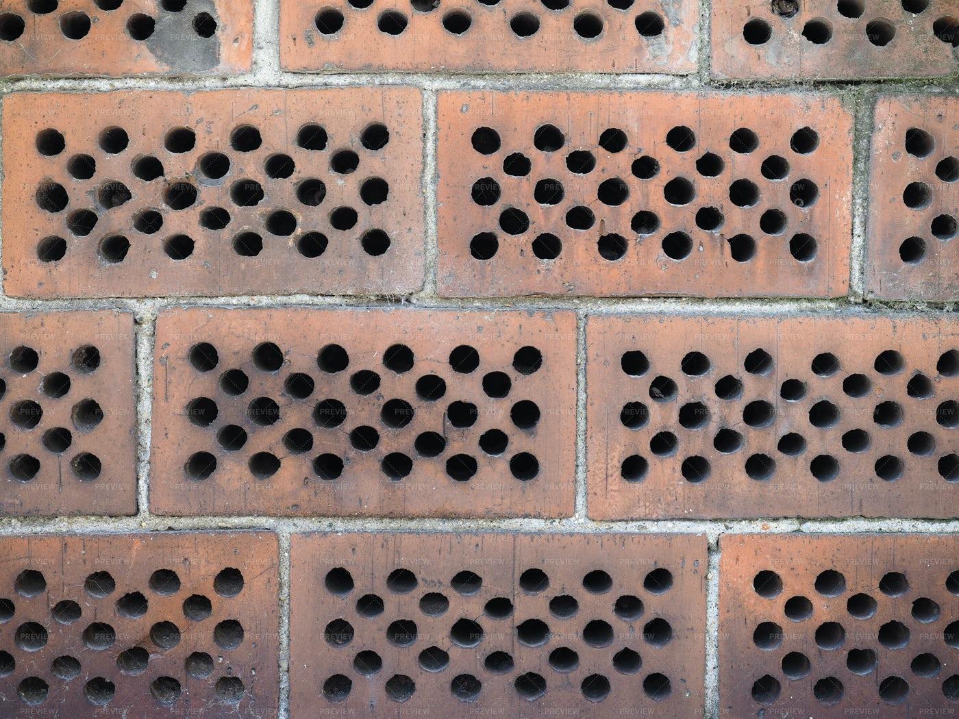 Red Perforated Bricks: Stock Photos