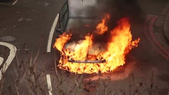 Car In Flames After Accident: Stock Video