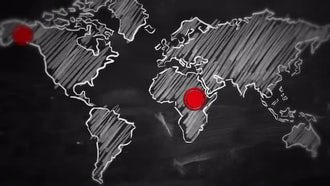 World Map Red Dot Connection: Motion Graphics