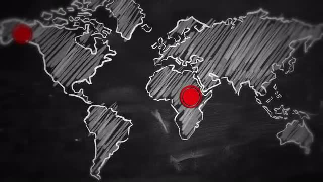 World Map Red Dot Connection: Stock Motion Graphics