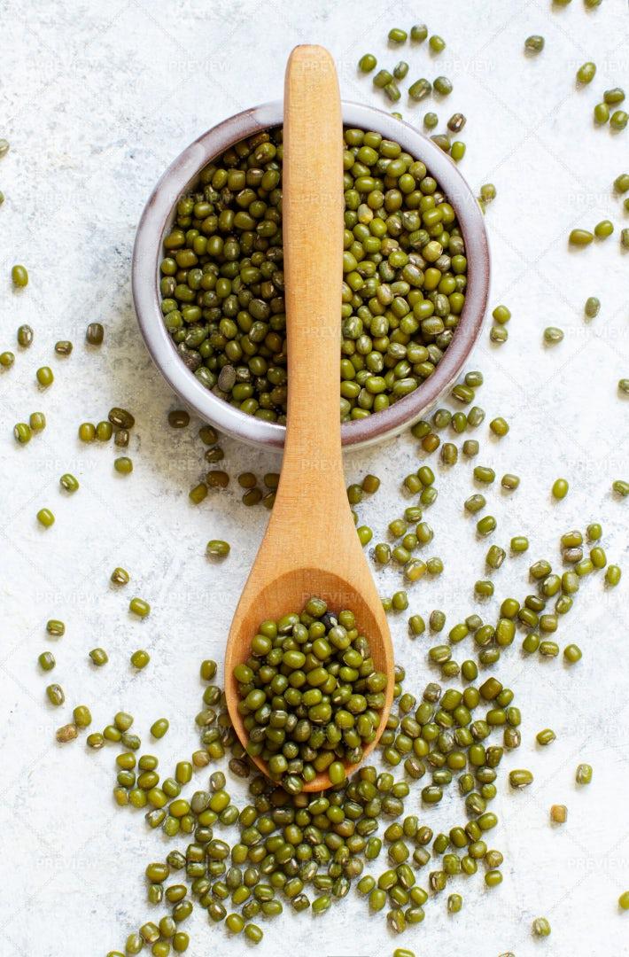 Spoon Of Mung Beans: Stock Photos