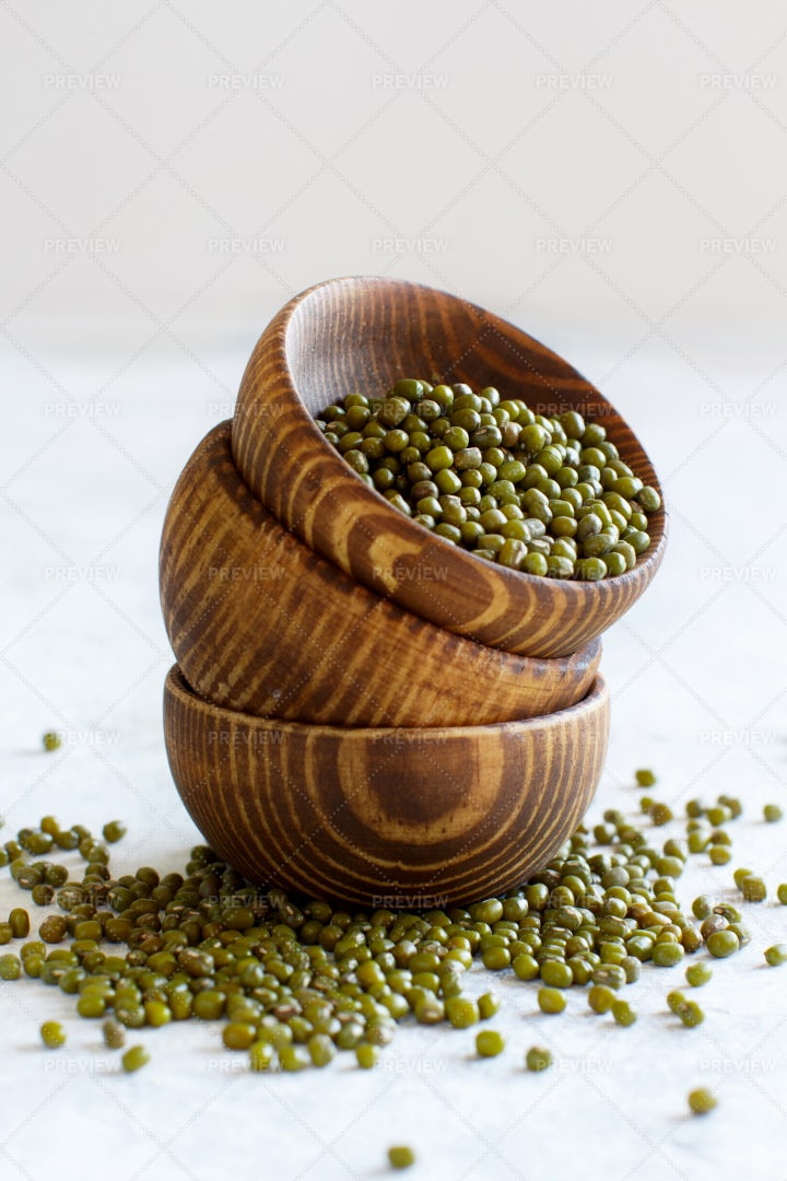 Stacks Of Bowls With Mung Beans: Stock Photos