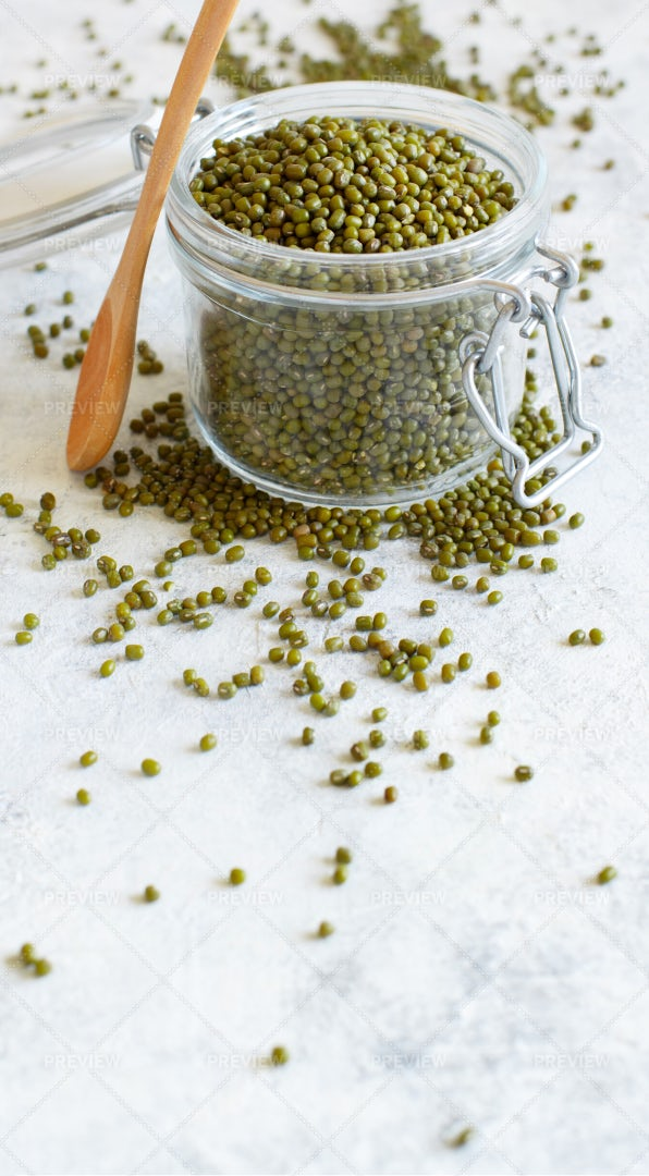 Mung Beans In A Glass Jar: Stock Photos