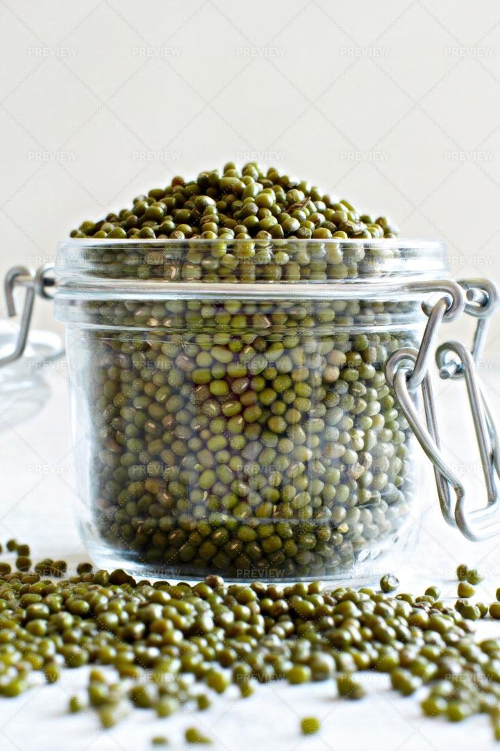 Jarred Mung Beans: Stock Photos