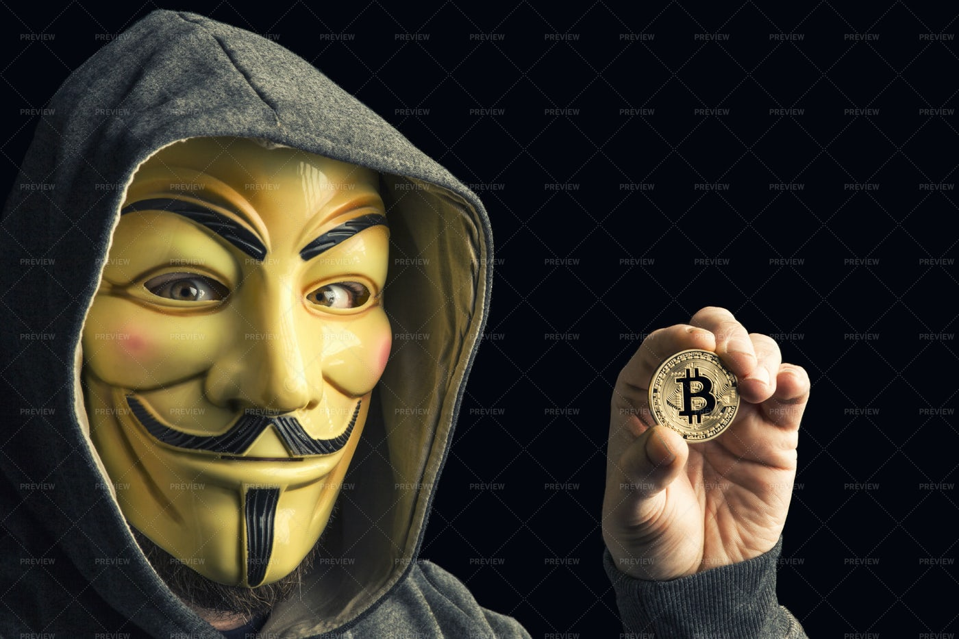 Hacker Hold Bitcoin: Stock Photos
