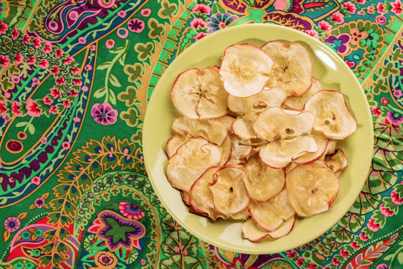 Plate Of Apple Chips: Stock Photos