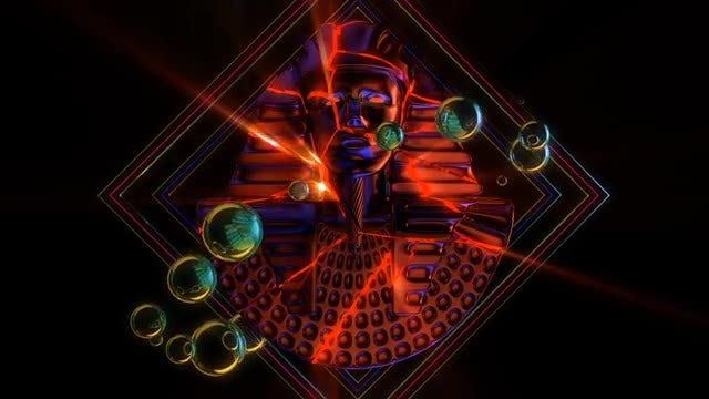 Cracked Pharaoh Bust VJ Loop: Stock Motion Graphics