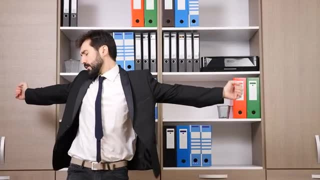Businessman Having A Good Time: Stock Video