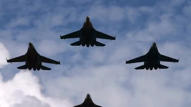 Low Angle Shot Of Fighter Jets: Stock Video