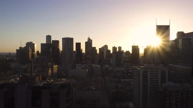 City Skyline At Sunset: Stock Video