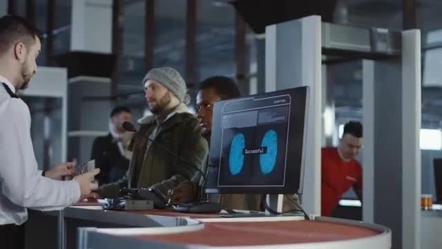 Biometrics Checking At Airport: Stock Video