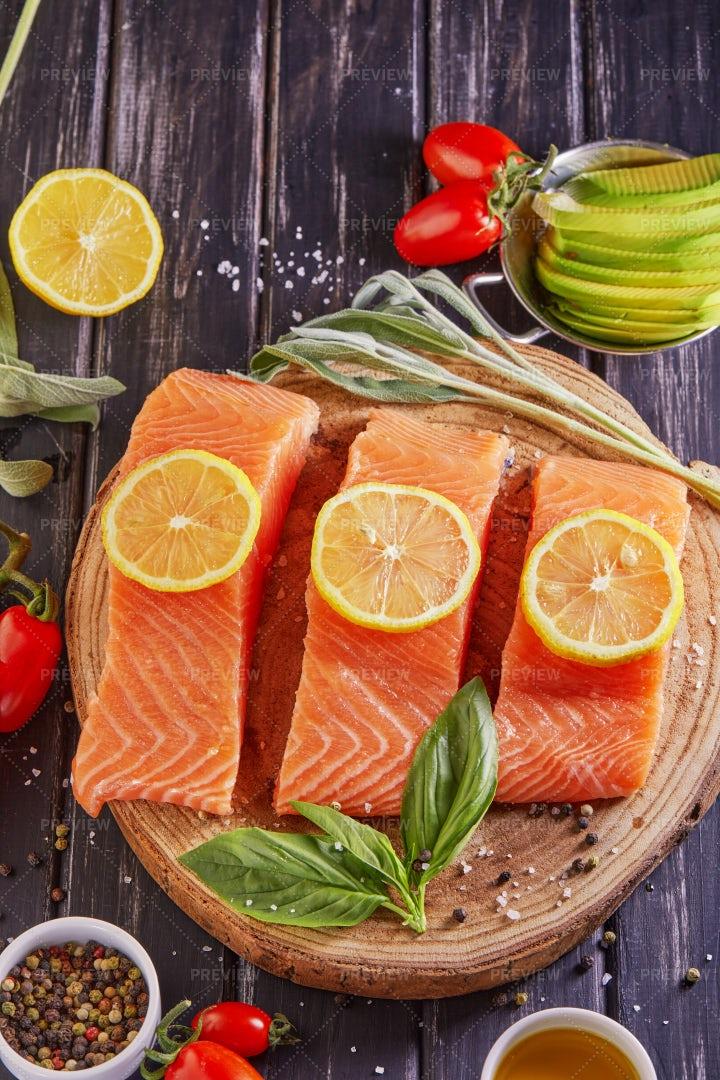 Raw Salmon Fillet: Stock Photos