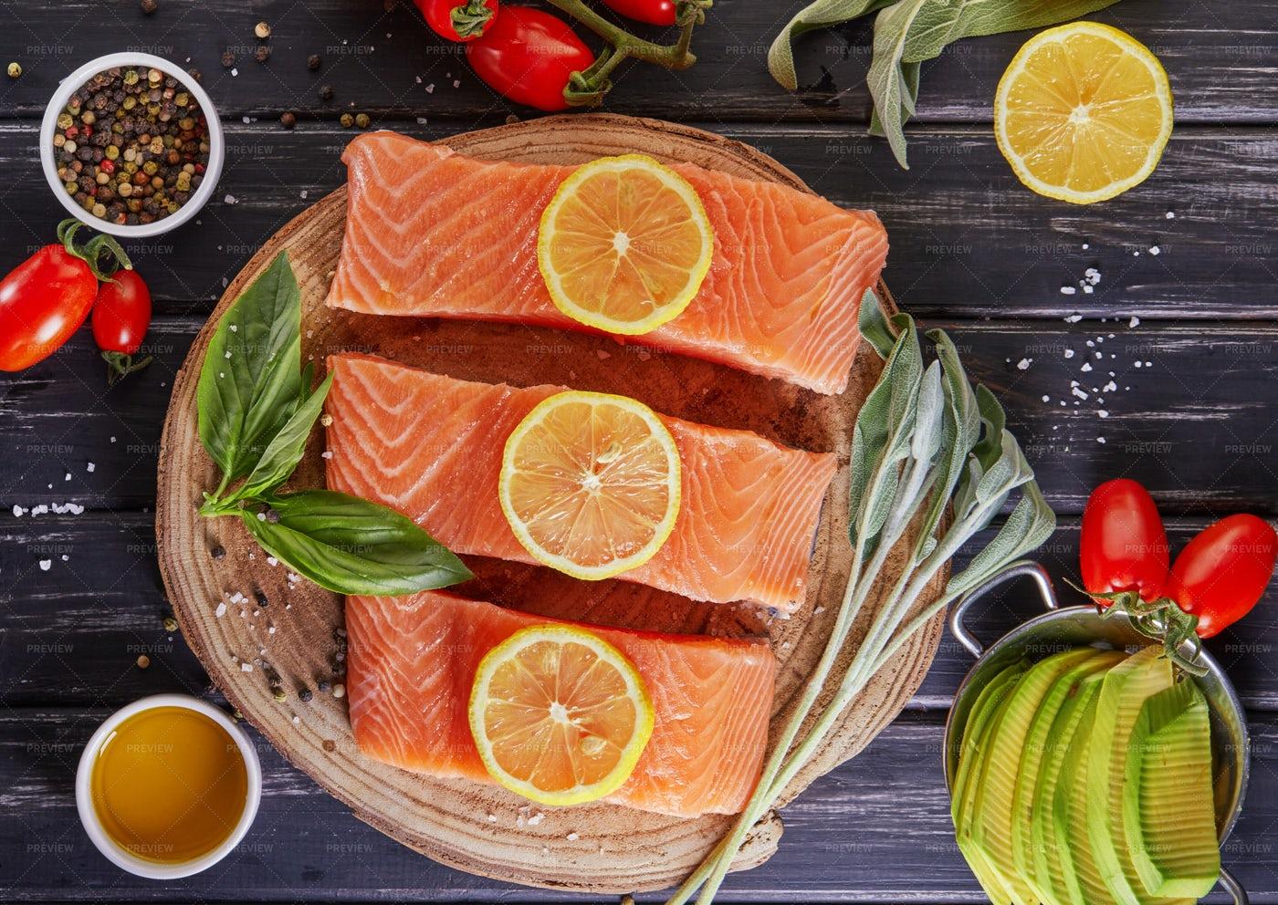 Raw Salmon Fillet Sliced: Stock Photos