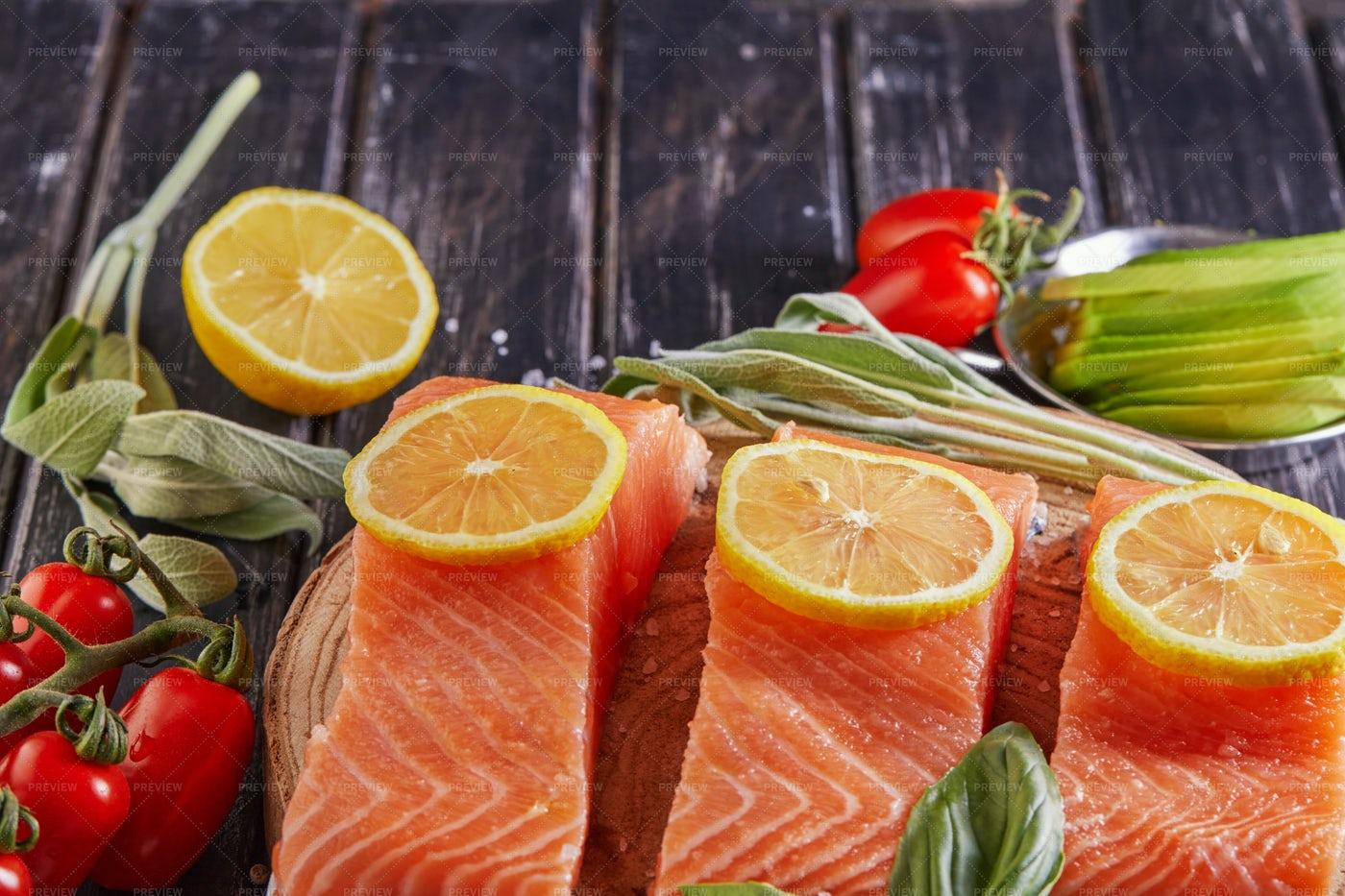 Three Salmon Fillets: Stock Photos