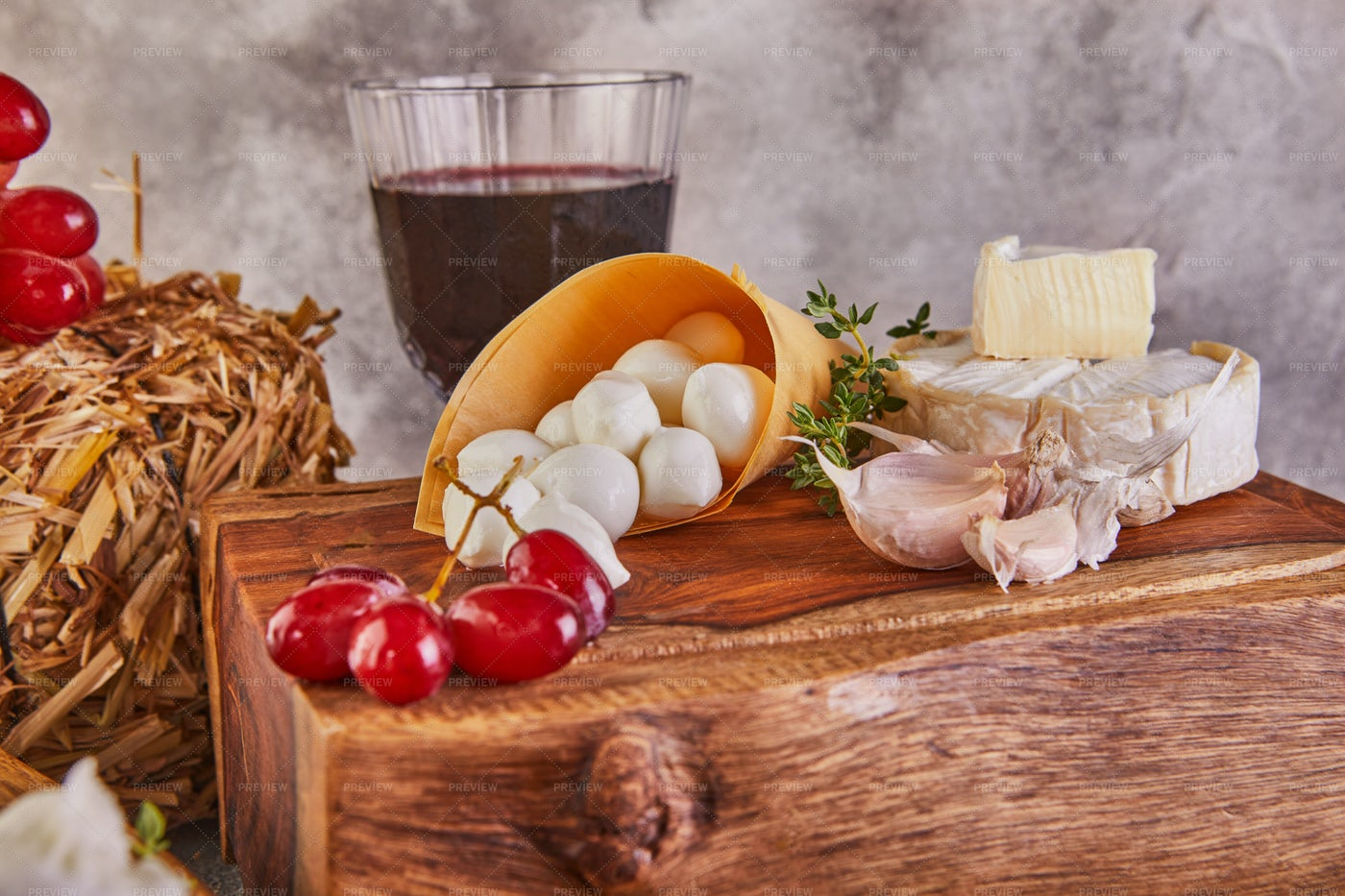 Cheese, Grapes And Wine: Stock Photos