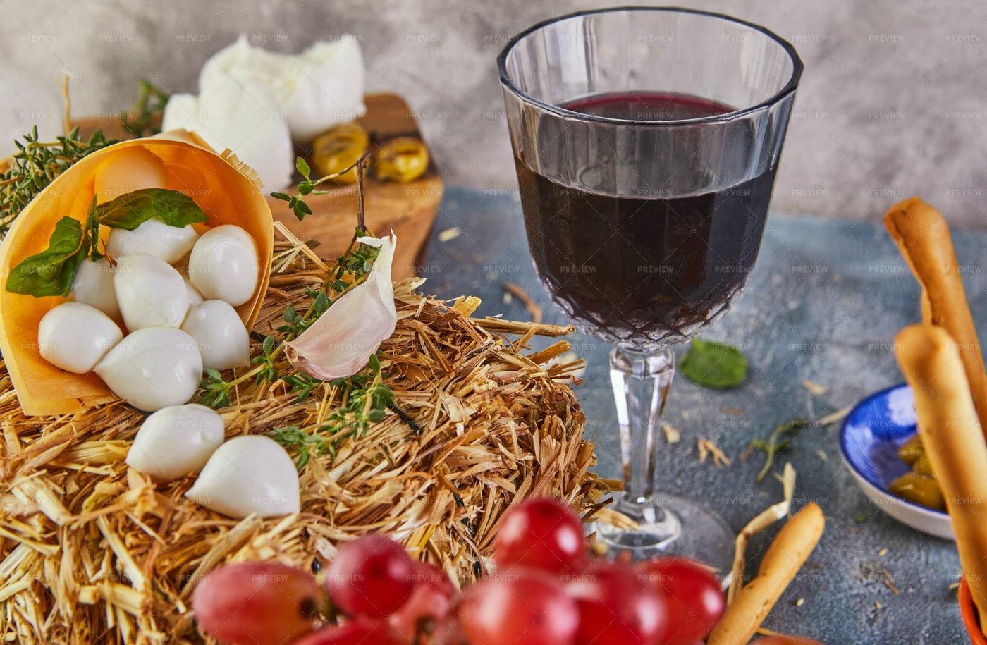 Fresh Cheese And Wine: Stock Photos