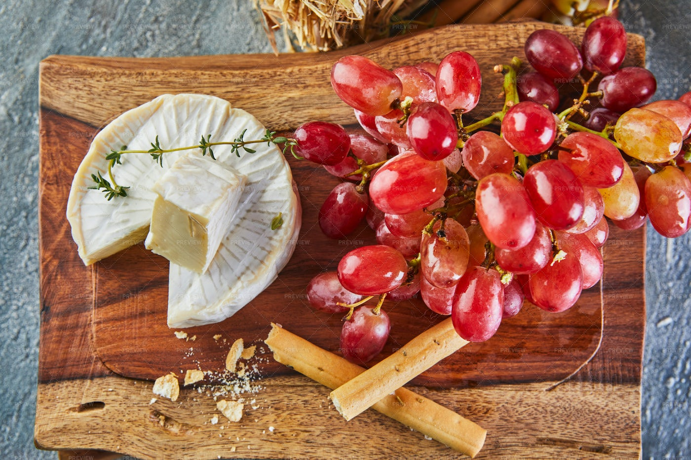 Brie Cheese And Grapes: Stock Photos