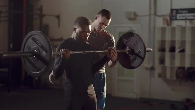 Man Exercising With Barbell : Stock Video