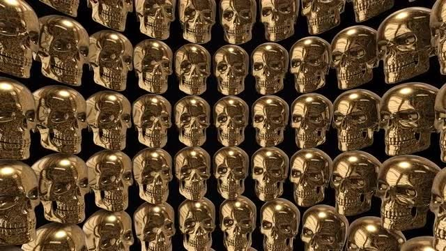 Golden Skulls Background: Stock Motion Graphics