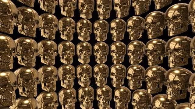 Golden Skulls Background: Stock Motion Graphics