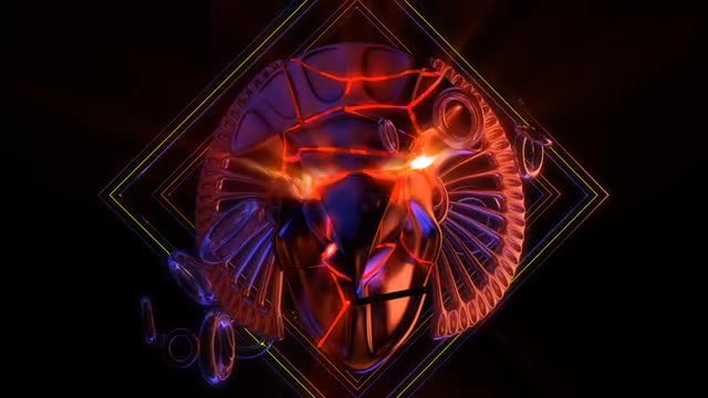 Cracked Horus Head VJ Loop: Stock Motion Graphics