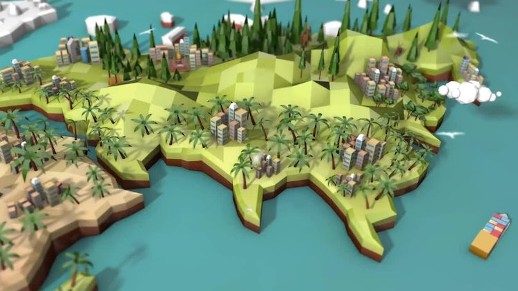 Low Poly Earth - Asia: Stock Motion Graphics