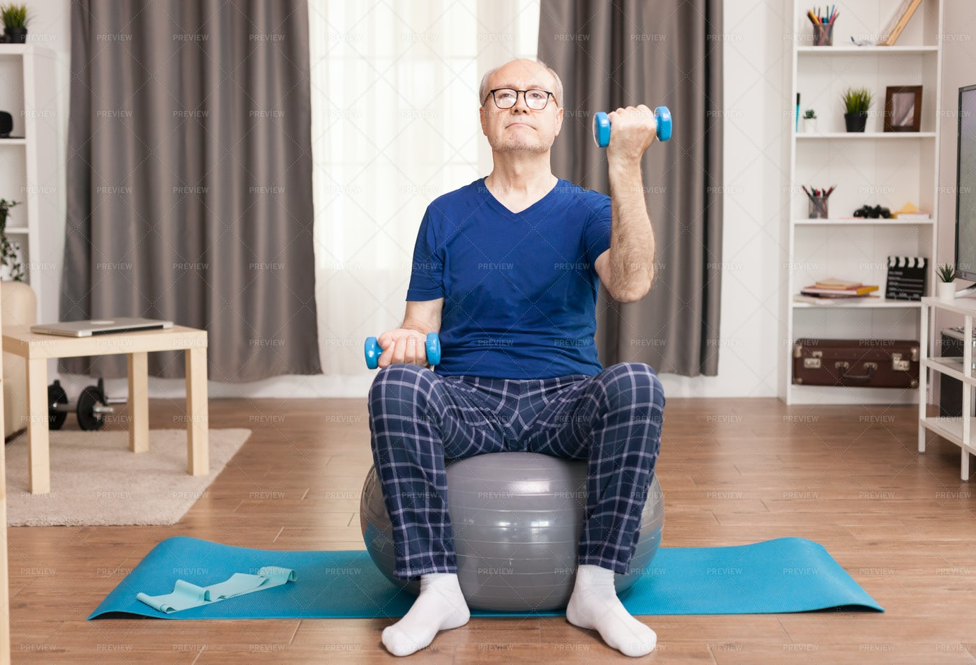 Dumbbells Curls At Home: Stock Photos