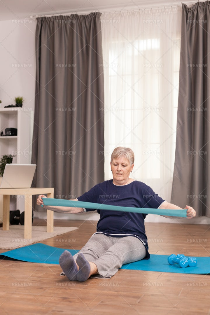 Woman Exercising From Home: Stock Photos