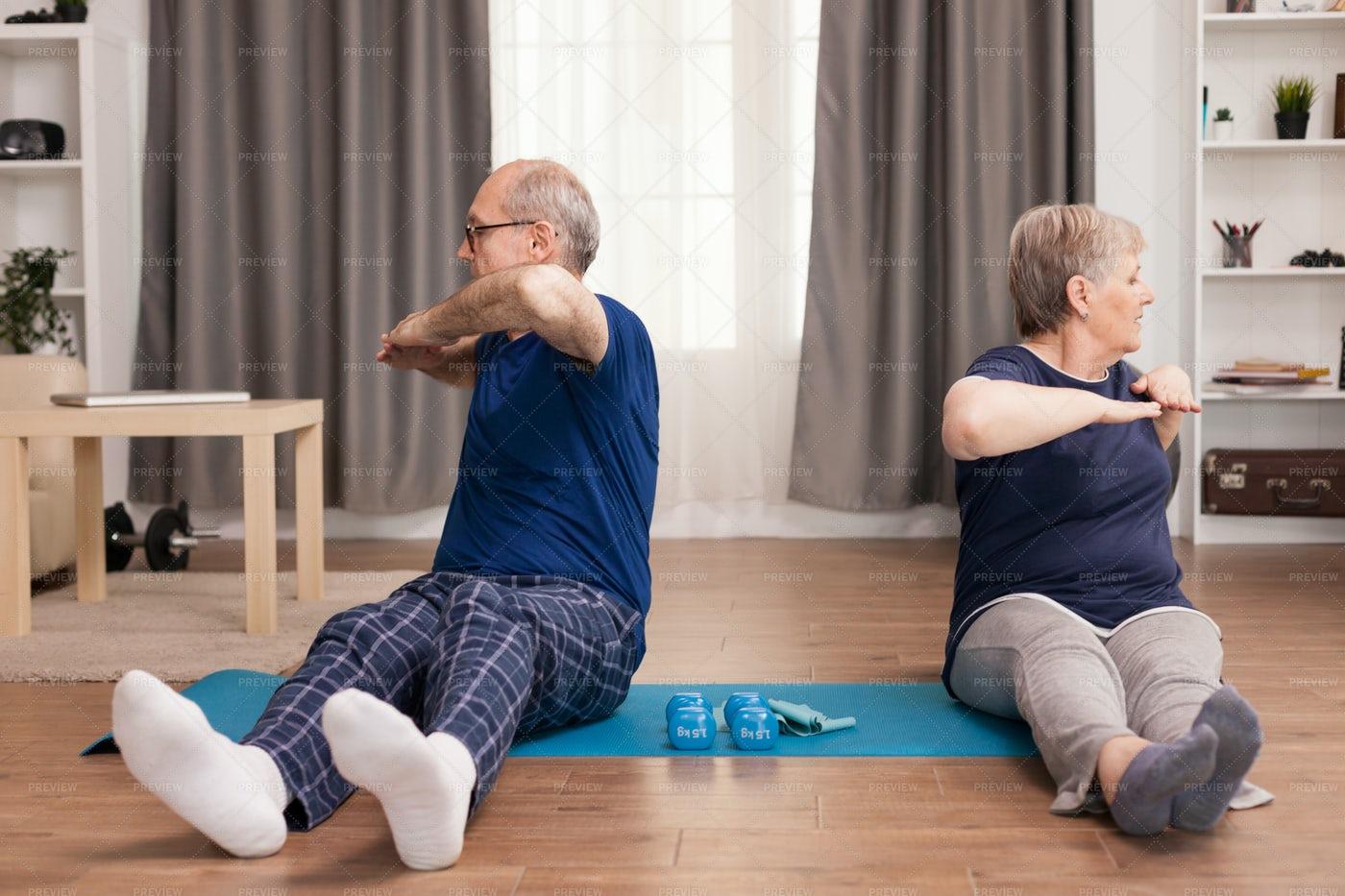 Elderly Couple Exercising: Stock Photos