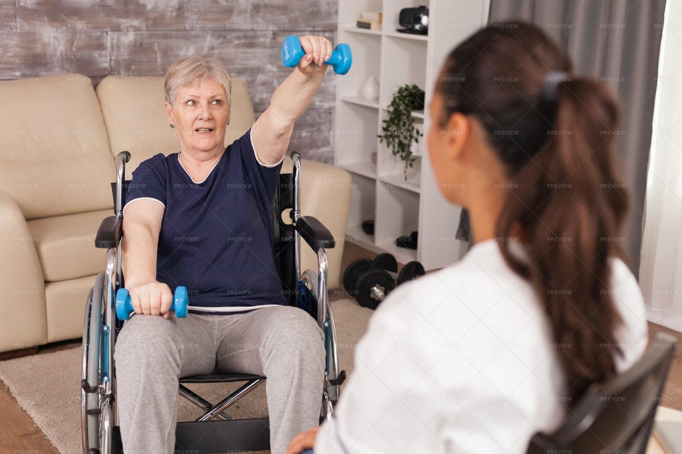 Senior Exercises With Dumbbells: Stock Photos