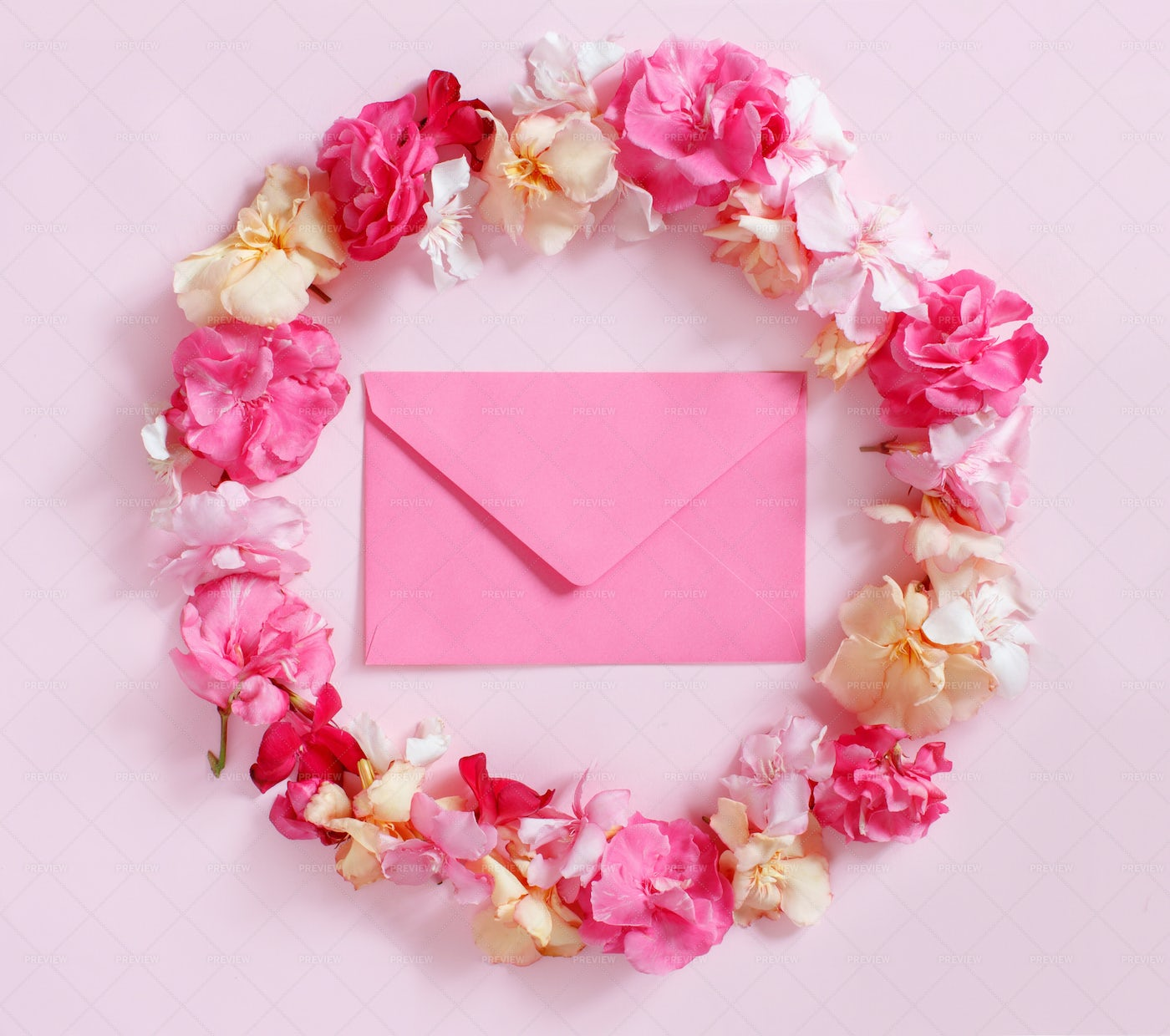 Pink Envelope And Flowers: Stock Photos