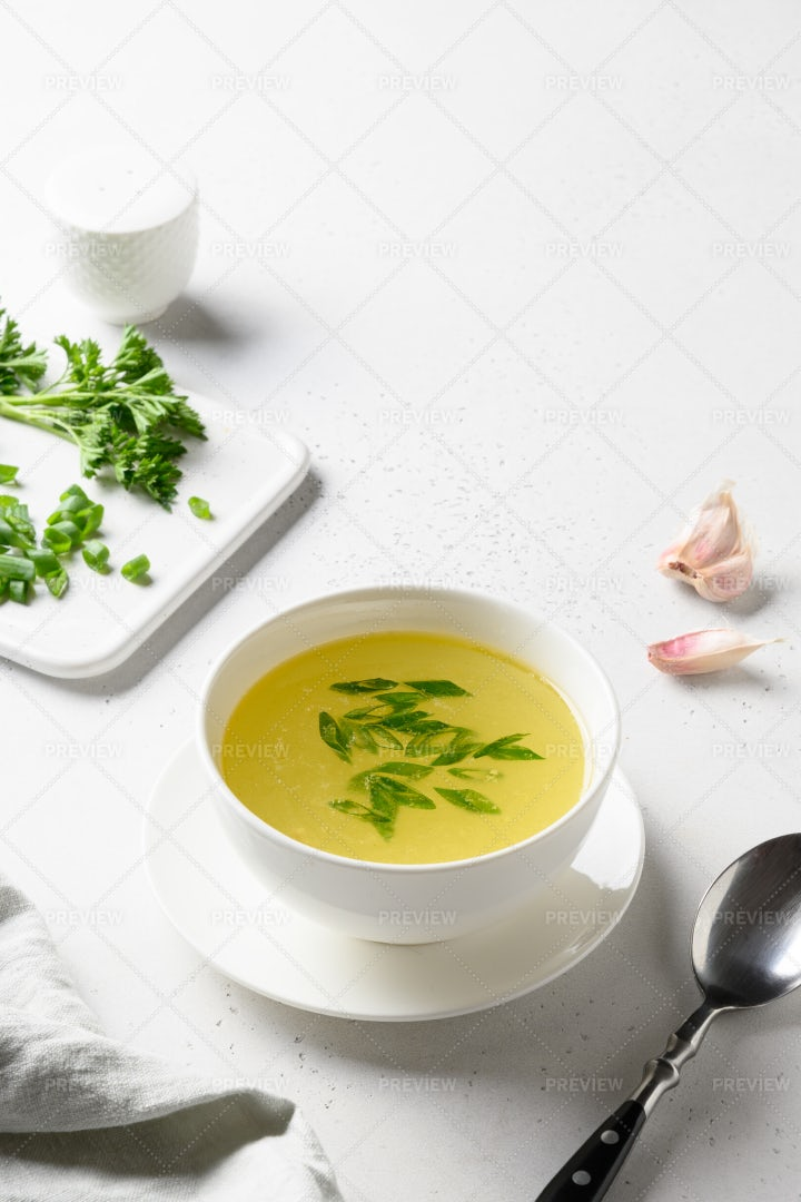 Chicken Broth With Greens: Stock Photos